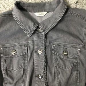 CJ Banks Gray Plus Size Jean Jacket